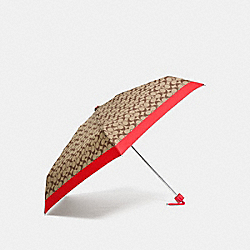 SIGNATURE MINI UMBRELLA - SILVER/KHAKI/VERMILLION - COACH F63365