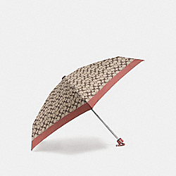 COACH SIGNATURE MINI UMBRELLA - SILVER/KHAKI/WATERMELON - F63365