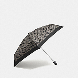 COACH SIGNATURE MINI UMBRELLA - SILVER/BLACK GREY/BLACK - F63365