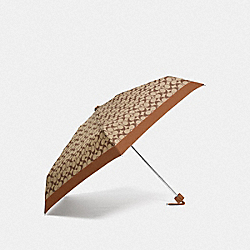 MINI UMBRELLA IN SIGNATURE - SILVER/KHAKI/SADDLE - COACH F63365