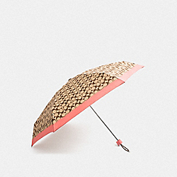 SIGNATURE MINI UMBRELLA - CORAL/SILVER - COACH F63365