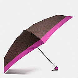 COACH SIGNATURE MINI UMBRELLA - SILVER/BROWN/FUCHSIA - F63365