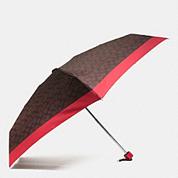 COACH SIGNATURE MINI UMBRELLA - SILVER/BROWN TRUE RED - F63365