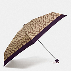 COACH SIGNATURE MINI UMBRELLA - SILVER/KHAKI/AUBERGINE - F63365