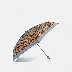 SIGNATURE MINI UMBRELLA - SILVER/KHAKI/STEEL BLUE - COACH F63365