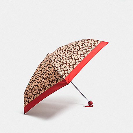 COACH SIGNATURE MINI UMBRELLA - RUBY/SILVER - F63365