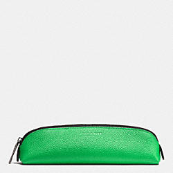 PENCIL CASE IN REFINED PEBBLE LEATHER - GREEN - COACH F63390