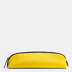 PENCIL CASE IN REFINED PEBBLE LEATHER - YELLOW - COACH F63390