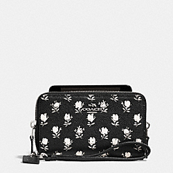 COACH DOUBLE ZIP PHONE WALLET IN PRINTED CROSSGRAIN LEATHER - SILVER/BK PCHMNT BDLND FLR - F63406