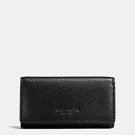 COACH 4 RING KEY CASE IN CROSSGRAIN LEATHER - BLACK - f63414