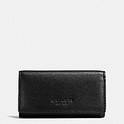 4 RING KEY CASE IN CROSSGRAIN LEATHER - BLACK - COACH F63414