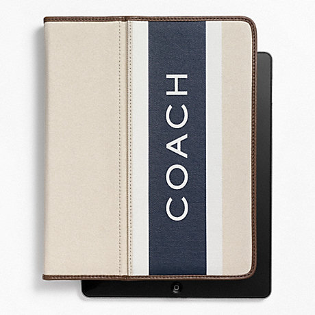COACH HERITAGE WEB CANVAS PRINTED STRIPE IPAD CASE -  - f63432