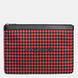 COACH UNIVERSAL POUCH IN NYLON - RED HOUNDSTOOTH - F63445