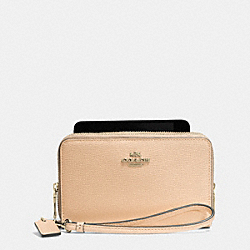 COACH DOUBLE ZIP PHONE WALLET IN COLORBLOCK CROSSGRAIN LEATHER - LIDTI - F63449