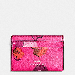 CARD CASE IN FLORAL PRINT CANVAS - f63624 -  SILVER/PINK MULTICOLOR
