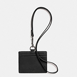 COACH ID LANYARD IN SPORT CALF LEATHER - BLACK - F63629