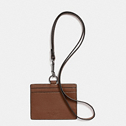 ID LANYARD IN SPORT CALF LEATHER - f63629 - DARK SADDLE