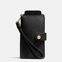 COACH PHONE CLUTCH IN PEBBLE LEATHER - LIGHT GOLD/BLACK - F63653