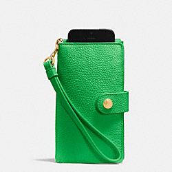 PHONE CLUTCH IN PEBBLE LEATHER - LIGRN - COACH F63653