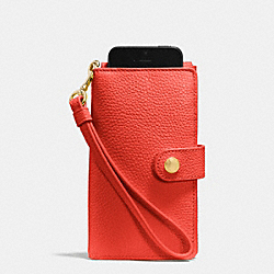 COACH PHONE CLUTCH IN PEBBLE LEATHER - LIWM3 - F63653
