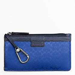 COACH HERITAGE SIGNATURE EMBOSSED PVC ENVELOPE KEYCASE - BLUE - F63656
