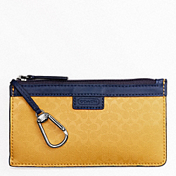COACH HERITAGE SIGNATURE EMBOSSED PVC ENVELOPE KEYCASE - YELLOW - F63656