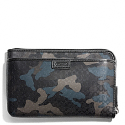 COACH HERITAGE SIGNATURE MULTI FUNCTION CASE - GREY/STORM BLUE - F63657