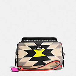 DOUBLE ZIP PHONE WALLET IN PRINTED CROSSGRAIN LEATHER - SVE2M - COACH F63664