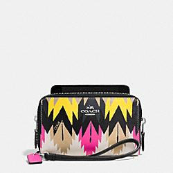 COACH DOUBLE ZIP PHONE WALLET IN PRINTED CROSSGRAIN LEATHER - SILVER/HAWK FEATHER - F63664