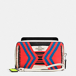 DOUBLE ZIP PHONE WALLET IN PRINTED CROSSGRAIN LEATHER - SVE2O - COACH F63664