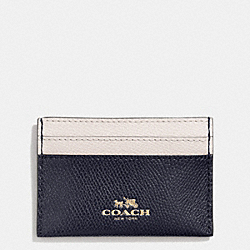 COACH CARD CASE IN BI-COLOR CROSSGRAIN LEATHER - LIGHT GOLD/MIDNIGHT/CHALK - F63669