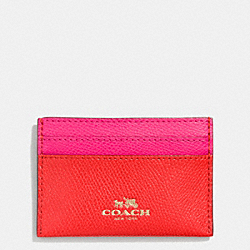 COACH CARD CASE IN BI-COLOR CROSSGRAIN LEATHER - LIGHT GOLD/CARDINAL/PINK RUBY - F63669