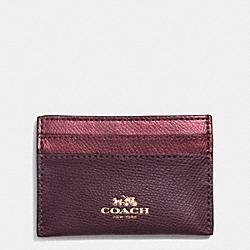 COACH CARD CASE IN BI-COLOR CROSSGRAIN LEATHER - IME8I - F63669