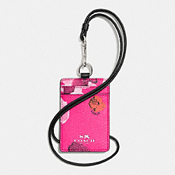 COACH LANYARD ID CASE IN FLORAL PRINT CANVAS - SILVER/PINK MULTICOLOR - F63671