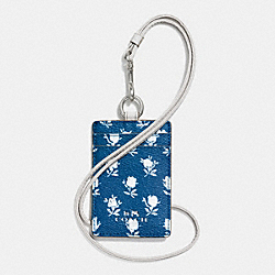COACH BADLANDS FLORAL LANYARD ID IN PEBBLE EMBOSSED CANVAS - SILVER/BLUE MULTICOLOR - F63693