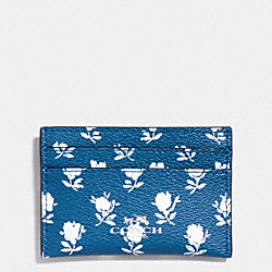 COACH BADLANDS FLORAL CARD CASE IN PEBBLE EMBOSSED CANVAS - SILVER/BLUE MULTICOLOR - F63694