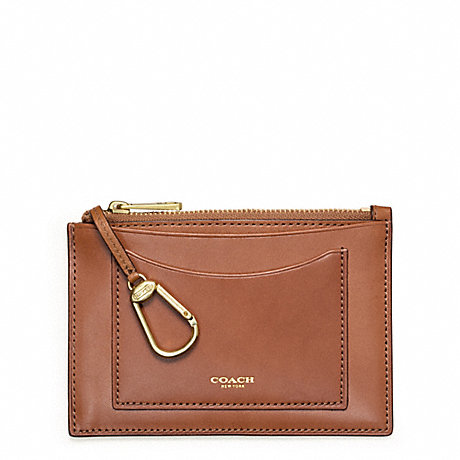 COACH CROSBY LEATHER ZIP KEYCASE - DOE - f63718
