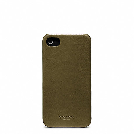 COACH BLEECKER LEATHER MOLDED IPHONE 4 CASE - DARK OLIVE - f63734