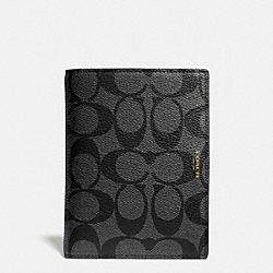 COACH BLEECKER PASSPORT CASE IN SIGNATURE COATED CANVAS - BLACK/CHARCOAL - F63741