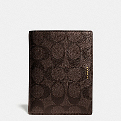 COACH BLEECKER PASSPORT CASE IN SIGNATURE COATED CANVAS - MAHOGANY/BROWN - F63741