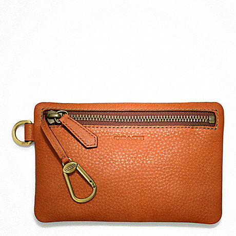 COACH BLEECKER PEBBLED LEATHER KEYCASE ENVELOPE -  - f63747