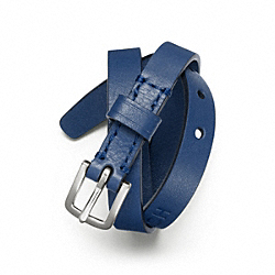 COACH DOUBLE WRAP LEATHER BRACELET - SILVER/BLUE - F63750