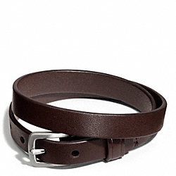 COACH DOUBLE WRAP LEATHER BRACELET - SILVER/MAHOGANY - F63750