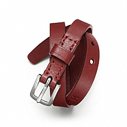 COACH DOUBLE WRAP LEATHER BRACELET - SILVER/RED - F63750