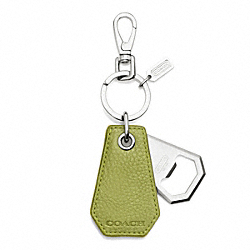 COACH BLEECKER PEBBLED LEATHER BOTTLE OPENER KEY RING - ONE COLOR - F63751