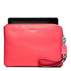 LEATHER L-ZIP E-READER SLEEVE - SILVER/BRIGHT CORAL - COACH F63797