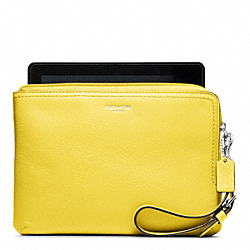 LEATHER L-ZIP E-READER SLEEVE - SILVER/LEMON - COACH F63797