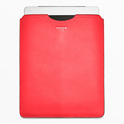 COACH LEATHER IPAD SLIP COVER - SILVER/BRIGHT CORAL - F63801