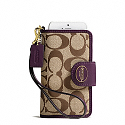COACH SIGNATURE PHONE WRISTLET - BRASS/KHAKI/BLACK VIOLET - F63827