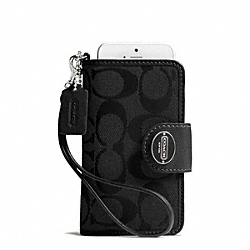 COACH SIGNATURE PHONE WRISTLET - SILVER/BLACK/BLACK - F63827